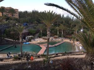 Der Fernsehgarten von oben, in der Mitte die Bühne im Pool.
